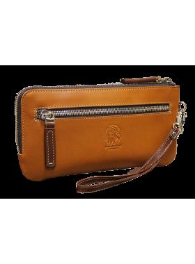 Клатч кожаный портмоне ФРТ-S рыжее Apache RFID