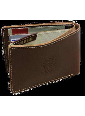 Мужское кожаное портмоне МК-S коричневое Apache RFID