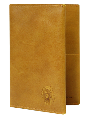 Обложка на паспорт натуральная кожа ОП-2-A табачно-желтая Apache