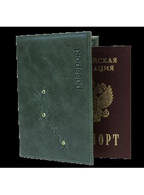Обложка для паспорта женская кожаная ОПВ Мэри друид зеленый Kniksen