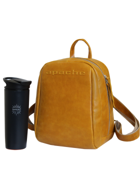 Кожаный городской рюкзак друид P-9013-A табачно-желтый Apache